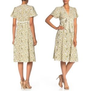 Max Studio Yellow Floral Midi Dress Size Medium